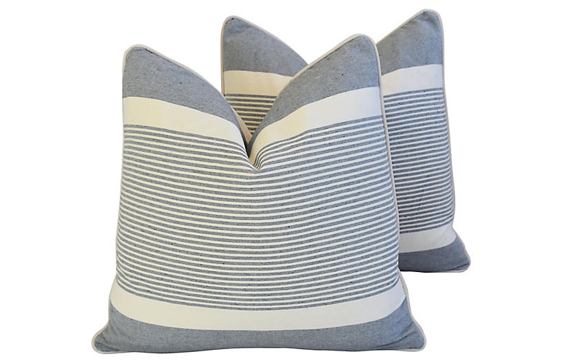 French Gray & White Striped Pillows, Pr