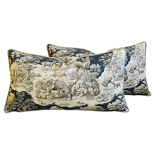 Woodland Toile Pillows, Pair