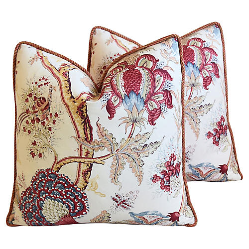 Bennison Dragon Flower Linen Pillows, Pr