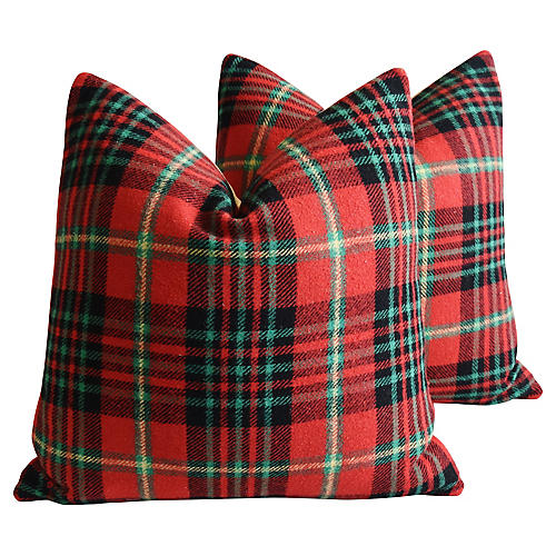 Scottish Tartan Plaid Wool Pillows, Pair