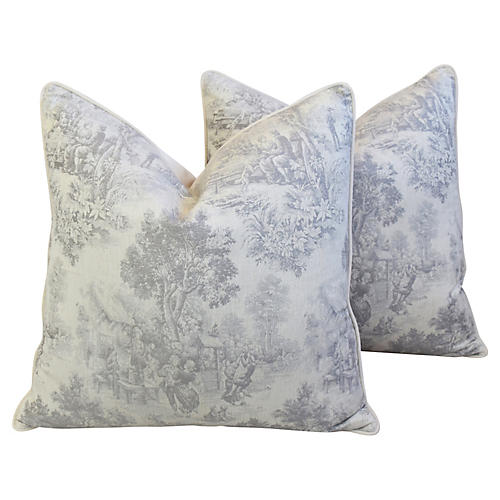 French Country Woven Toile Pillows, Pair