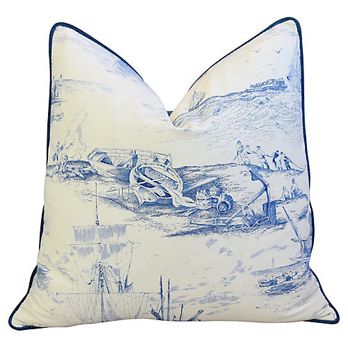 French Blue & White Nautical Pillow