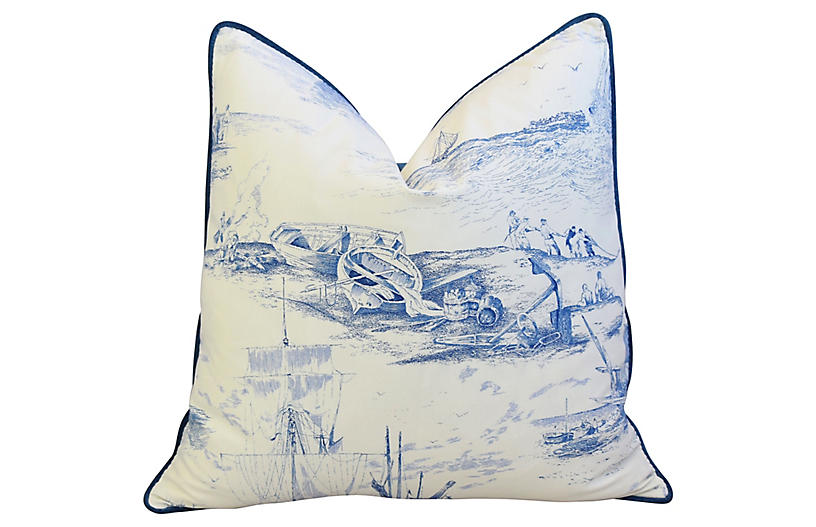 French Blue & White Nautical Pillow