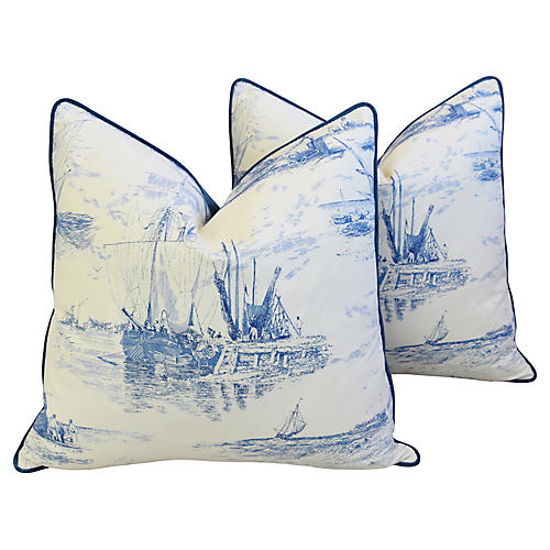French Blue/White Nautical Pillows, Pair