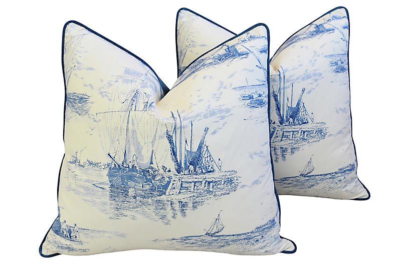 French Blue/White Nautical Pillows, Pair