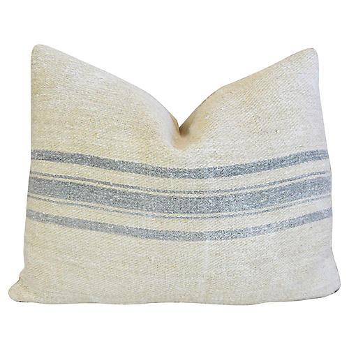 Blue-Gray Striped Grain-Sack Pillow