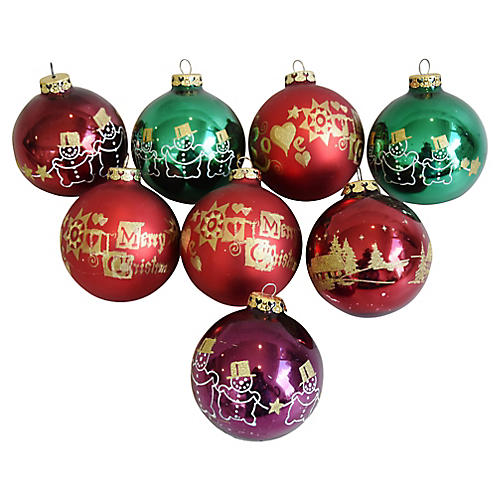 Colorful Christmas Tree Ornaments S/8