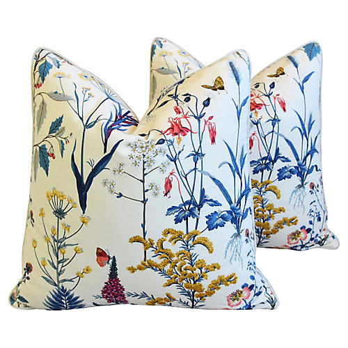Botanical Cotton & Linen Pillows, Pair