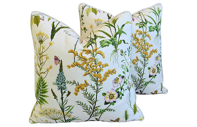 Botanical Cotton & Linen Pillows, Pair