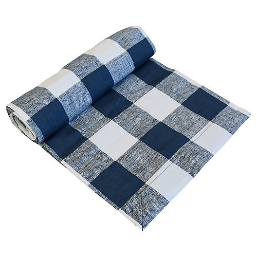"110""L Blue/White Farmhouse Table Runner"