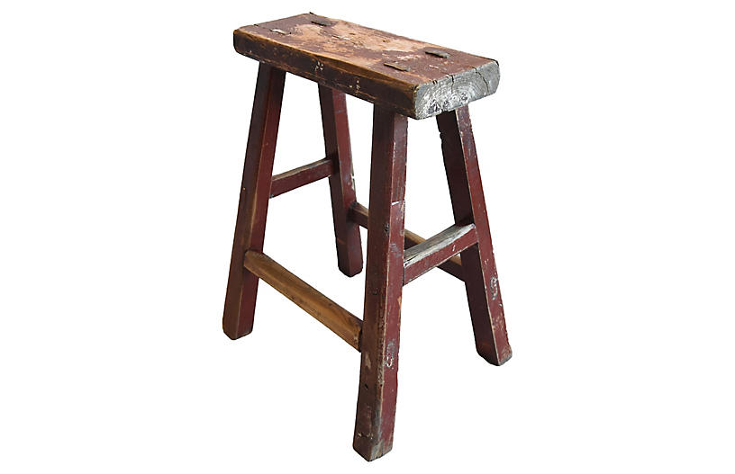 Primitive Handmade Elm Farmhouse Stool
