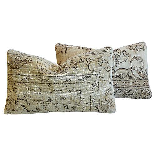 Antique Soumak Rug Pillows, Pair