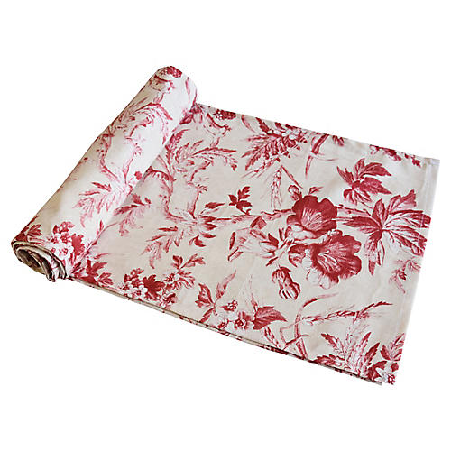 Red & Ivory Trailing Floral Table Runner