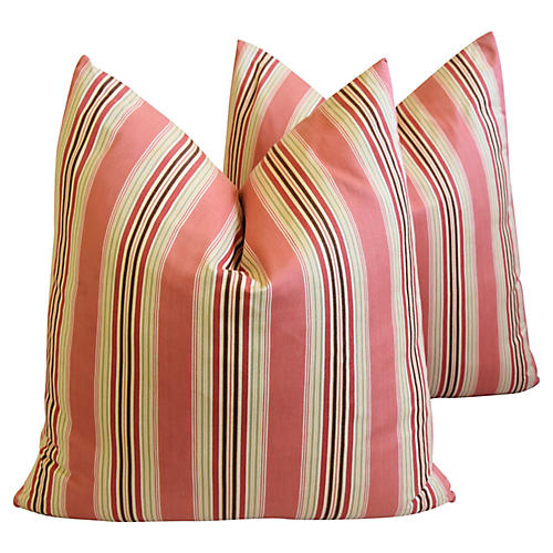 French Coral Striped Ticking Pillows, Pr