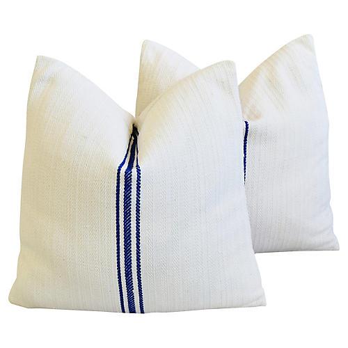 Blue/White French Grain Sack Pillows, Pr