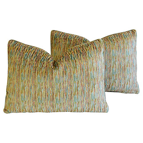 Clarence House Velvet Fabric Pillows, Pr