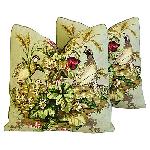 Scalamandre Edwin's Covey Pillows, Pair