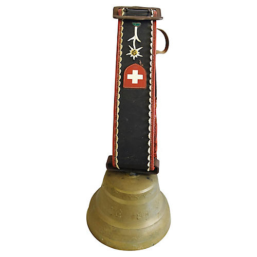 Swiss Brass Cow Bell and Leather Collar