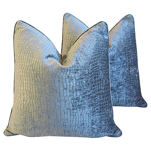 Gray/Silver Crocodile Velvet Pillows, Pr
