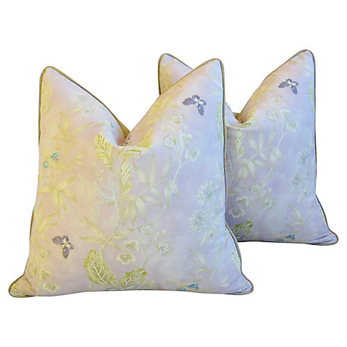 Lavender Wildflower Linen Pillows, Pair