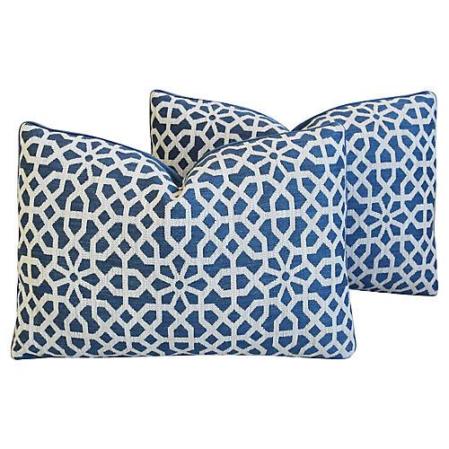 Clarence House Fabric/Mohair Pillows, Pr