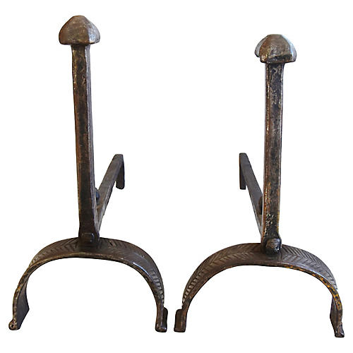 Hand-Forged Iron Fireplace Andirons