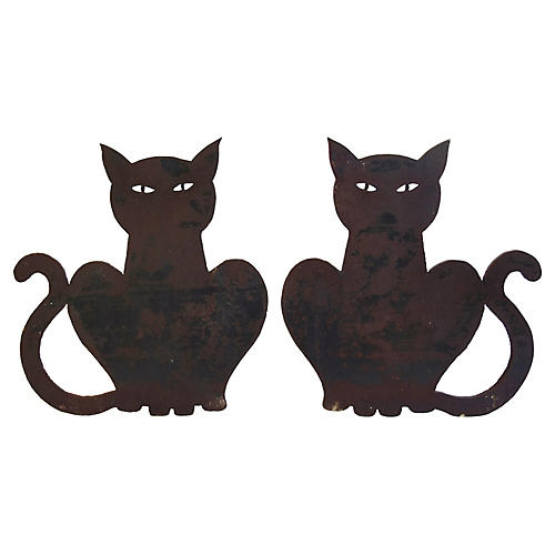 Hand-Forged Iron Cat Fireplace Andirons