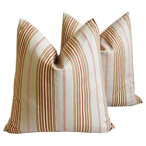 French Ticking Stripe Pillows, Pair