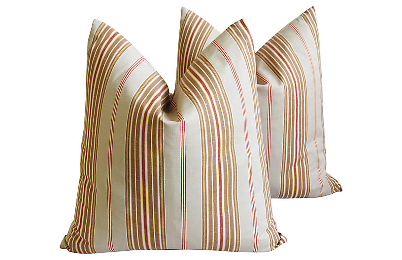 French Ticking Stripe Pillows Pair