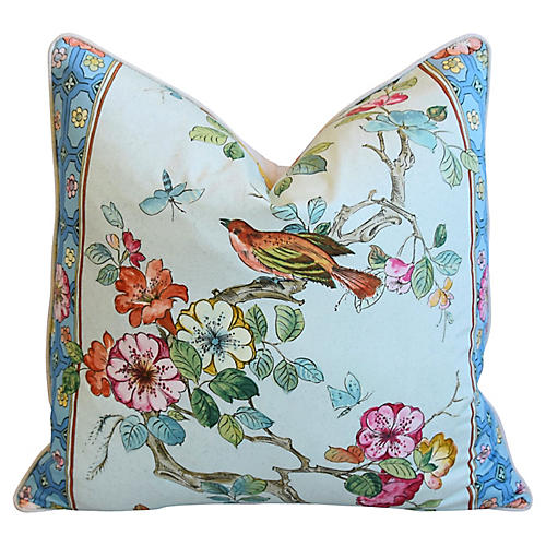 English Chinoiserie Floral Bird Pillow