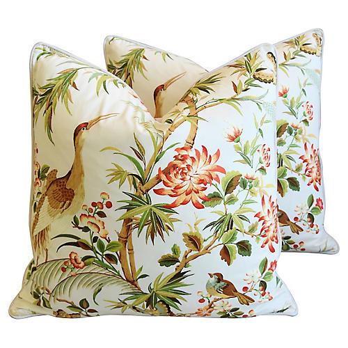 Chinoiserie Floral & Birds Pillows, Pr