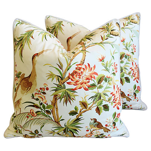 Chinoiserie Floral & Birds Pillows, Pr