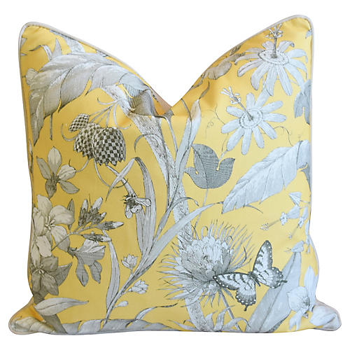 English Floral Meadow Linen Pillow