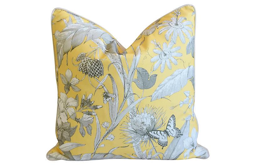 English Floral Meadow Linen Pillow