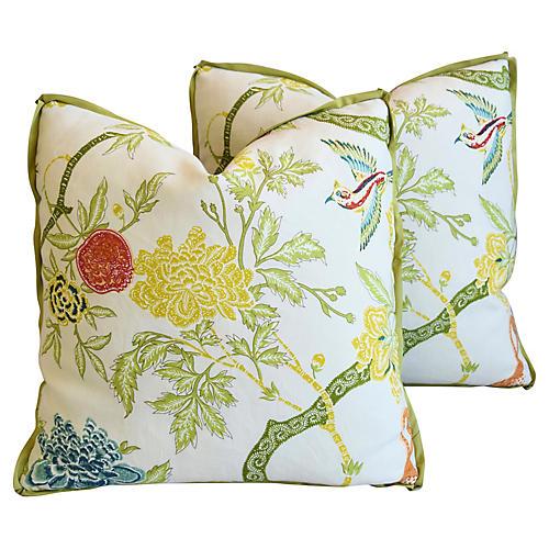 Schumacher Chinoiserie Linen Pillows, Pr