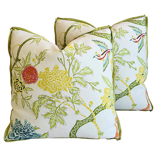 Schumacher Chinoiserie Linen Pillows, Pr