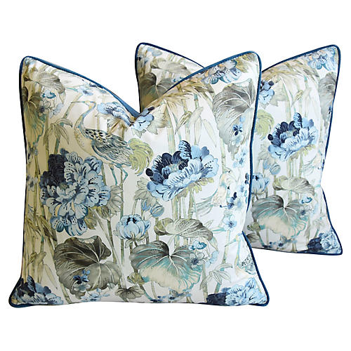 Chinoiserie Crane & Floral Pillows, Pair