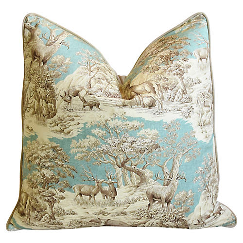 Woodland Toile Deer & Velvet Pillow