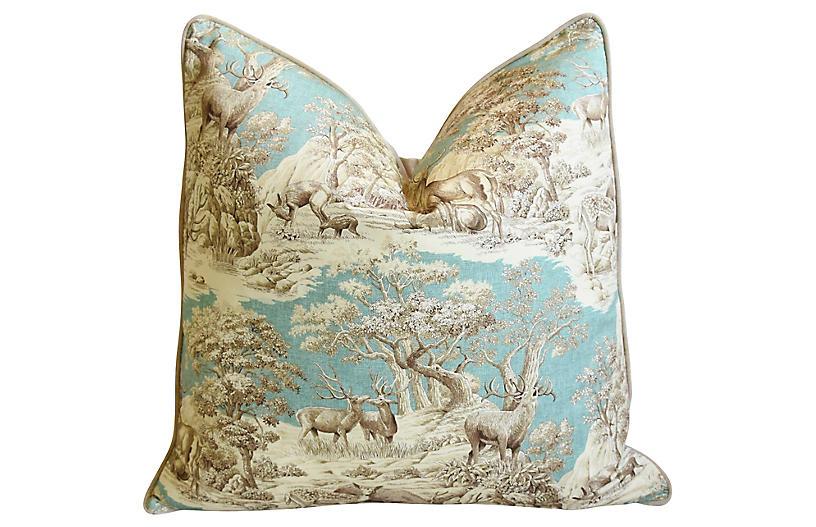 Woodland Toile Deer & Velvet Pillow