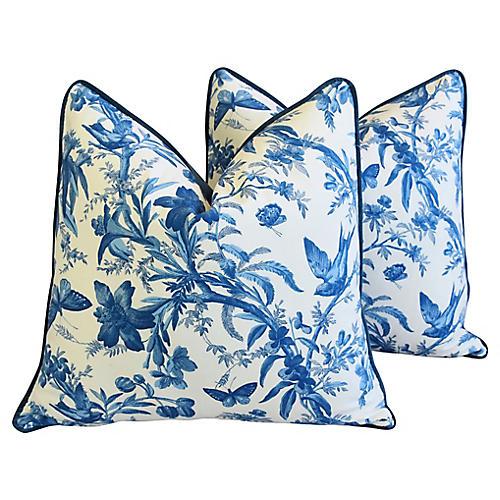 P. Kaufmann Aviary Toile Pillows, Pair