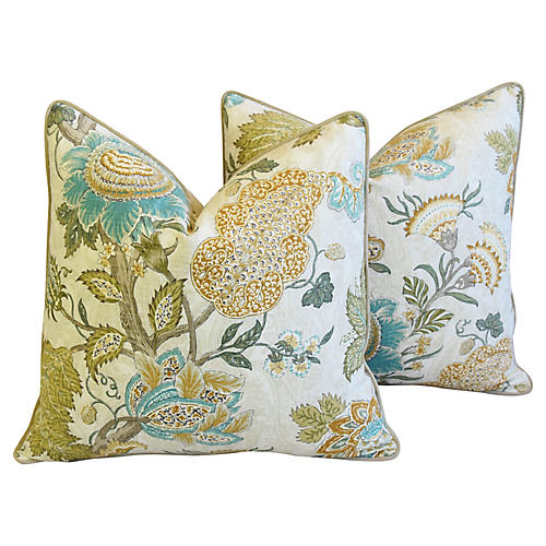 French Jacobean Floral Pillows, Pair