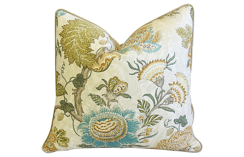 French Jacobean Floral & Velvet Pillow