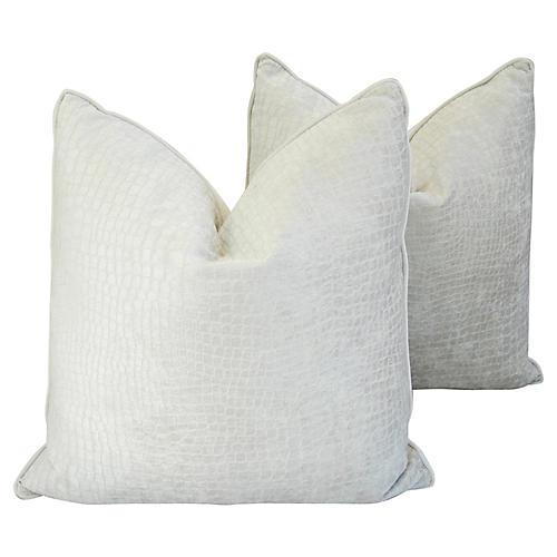 White Crocodile Velvet Pillows, Pair