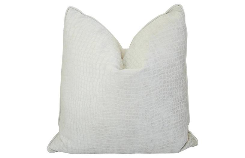 White Bone Crocodile Velvet Pillow