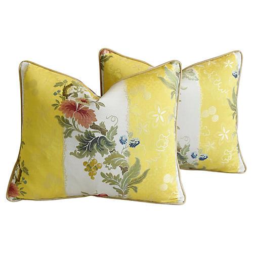 Scalamandré Silk Floral Pillows, Pair
