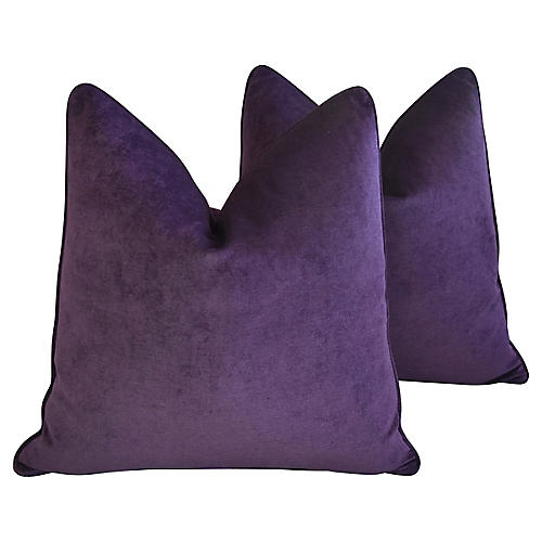 Amethyst Velvet Pillows, Pair