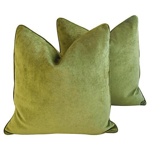 Forest Green Velvet Pillows, Pair