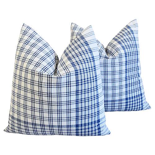 French Blue & White Plaid Pillows, Pair
