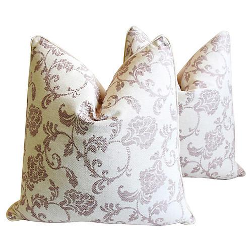 Lavender-Mauve Floral Pillows, Pair
