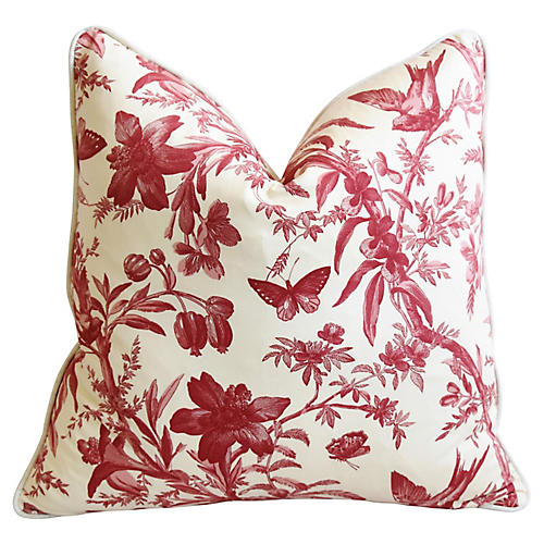P. Kaufmann Floral & Aviary Toile Pillow